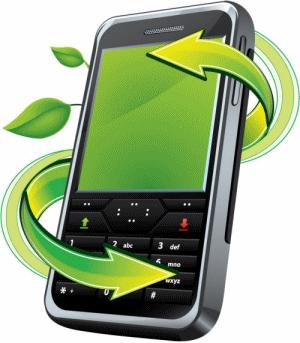 reciclando residuos electrónicos de un móvil o celular