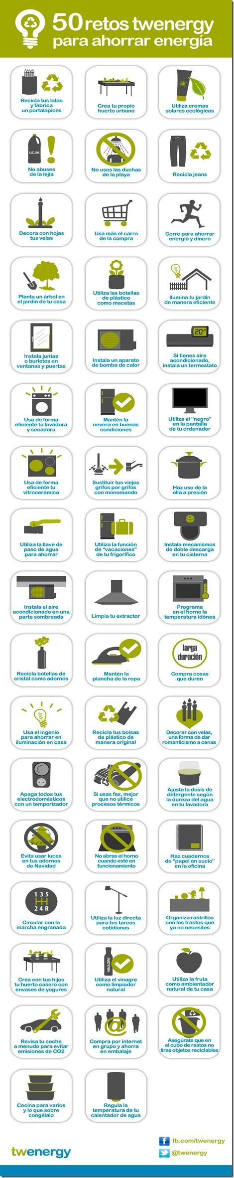 50 retos para ahorrar energía, infografía