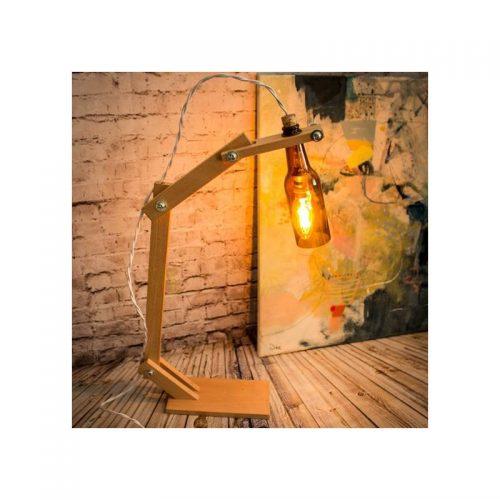 Lámparas de madera con botella, lámpara de sobremesa